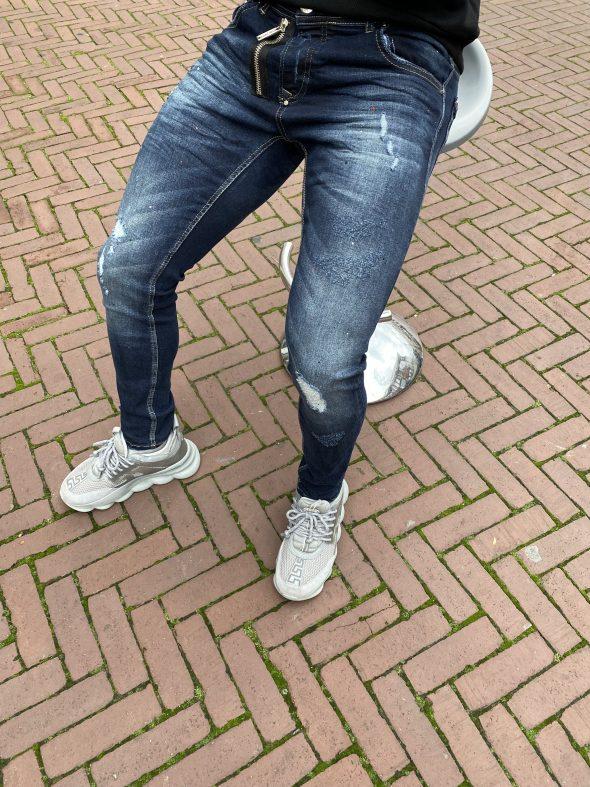 uni front zipper jeans
